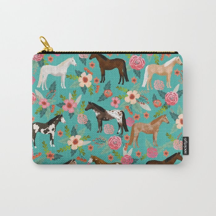 Horses floral horse breeds farm animal pets Tasche
