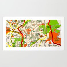 Jerusalem map design Art Print