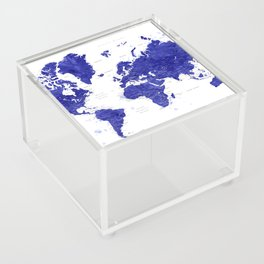 """Navy blue watercolor world map with cities, """"Ronnie"""" Acrylic Box"""