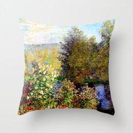 Claude Monet : A Corner of the Garden at Montgeron Throw Pillow