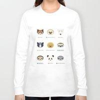 sloths Long Sleeve T-shirts featuring Endangered Bears & Sloths by Mirukuru