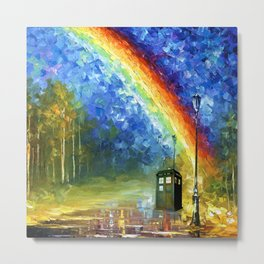 TARDIS WITH RAINBOW Metal Print