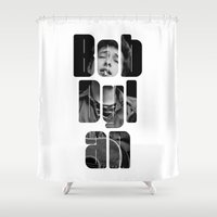 woodstock Shower Curtains featuring Bob Dylan Font Black And White by Fligo