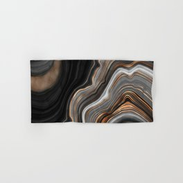 Elegant black marble with gold and copper veins Hand & Bath Towel