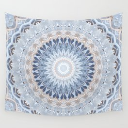 Serenity Mandala in Blue, Ivory and White on Textured Background Wall Tapestry