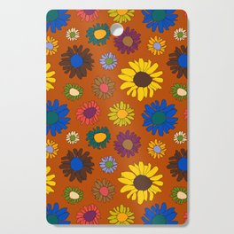 Funky Fall Harvest Floral in Terracotta Rust Cutting Board