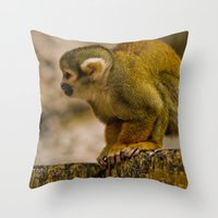 monkey island Throw Pillows featuring Little Monkey by Glory Baby Photography