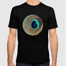 Peacock feather Mens Fitted Tee Black MEDIUM