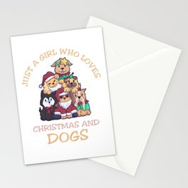 Just A Girl Who Loves Dogs Christmas Stationery Cards