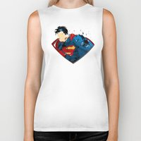 man of steel Biker Tanks featuring Man of Steel by ALmighty1080
