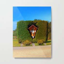 Jesus, a cross and a trimmed bush Metal Print
