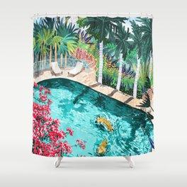 Luxury Villa #illustration #painting Shower Curtain