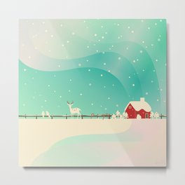 Peaceful Snowy Christmas Metal Print
