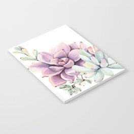 Desert Succulents on White Notebook
