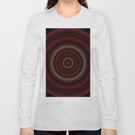 Deep Red Gold Mandala Long Sleeve T-shirt