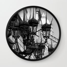 Old South Church Lamps in Black and White by David Hohmann Wall Clock