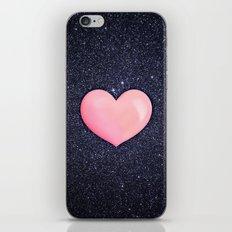 Pink heart on shiny black iPhone & iPod Skin