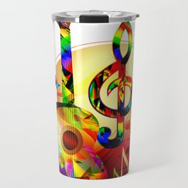Colorful  music instruments painting, guitar, treble clef, piano, musical notes, flying birds Travel Mug