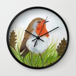 Robin with Oakleaves Wall Clock