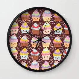 Cupcake Kawaii funny muzzle with pink cheeks and winking eyes Wall Clock