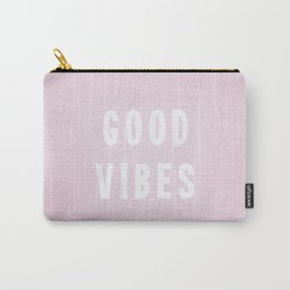 Pink and White Distressed Ink Good Vibes Carry-All Pouch