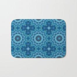 Blue mandala . Kaleidoscope . Winter . Bath Mat