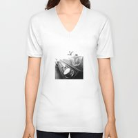 record V-neck T-shirts featuring Record player by Deliratio