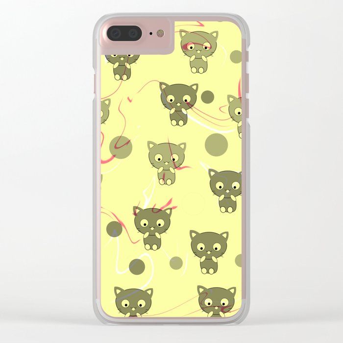 Cute happy kittens Clear iPhone Case