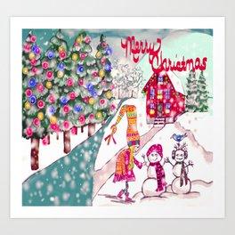 Merry Christmas Snowgirl Art Print