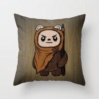 ewok Throw Pillows featuring Cartoon Ewok by Team Rapscallion