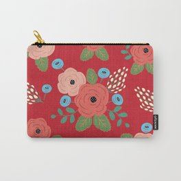 Flower Pattern, Pink Blue Flowers on Red, Vintage Floral Design Carry-All Pouch