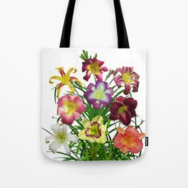 Celebration of daylilies I, Hemerocallis flowers Tote Bag