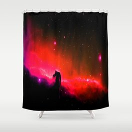 Horsehead NebULa : Coral Red Pink Shower Curtain