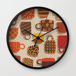 Patterned Cups and Glasses Wall Clock