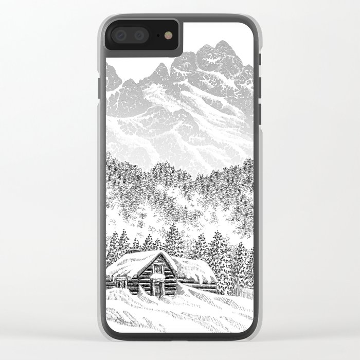 SNOWED IN PEN DRAWING Clear iPhone Case