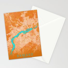Bamako, Mali, Gold, Blue, City, Map Stationery Cards