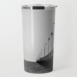 Jetty in Black and White Travel Mug
