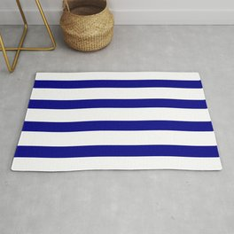 Blue Navy and White Stripes Rug
