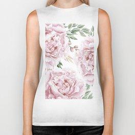Pretty Pink Roses Floral Garden Biker Tank
