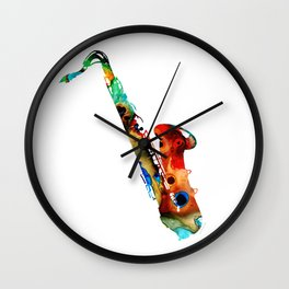 Colorful Saxophone By Sharon Cummings Wall Clock