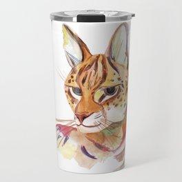 Serval wild cat watercolor Travel Mug