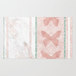 Snow White Peach Butterfly Abstract Pattern Rug
