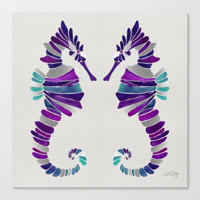 Seahorse – Purple & Silver Canvas Print