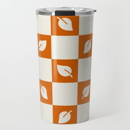 Leaves - rust brown and beige check Travel Mug