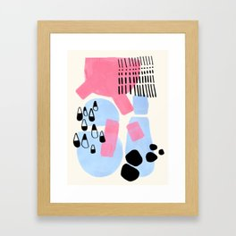 Fun Colorful Abstract Mid Century Minimalist Pink Periwinkle Cow Udder Milk Organic Shapes Framed Art Print