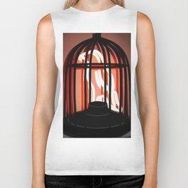 Bird in a cage neon sign Biker Tank