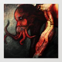 cthulu Canvas Prints featuring Are you there Cthulu? it's me... by Richard Bailey