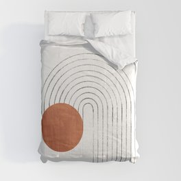 Terracotta circle and curved lines Comforters