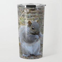 Gray Squirrel Munching on Pine Cones Travel Mug