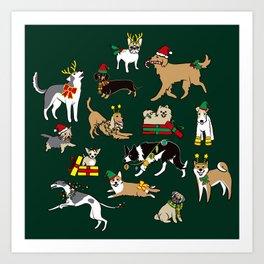 Christmas Dogs Green Art Print